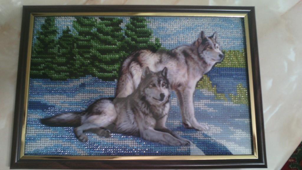 Вышивка бисером картины волки