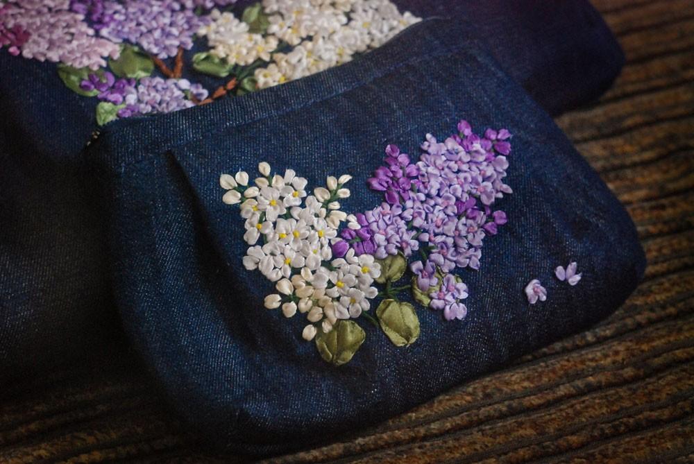 Вышивка лентами на джинсах 11