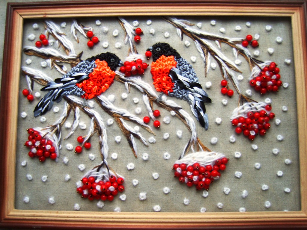 Птички вышивка лентами