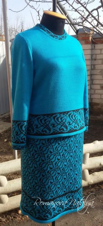 Вязанный женский костюм